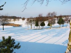 Snow on the 18th at Frodsham Golf Course