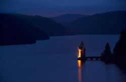 Lake Vyrnwy and Straining Tower at Night