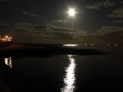 Moonlight on the heugh break water
