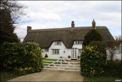 A white, thatched cottage