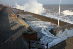 Bridlington high tide in April 2
