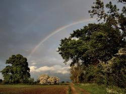 Faint double rainbow near Middle Claydon, Bucks