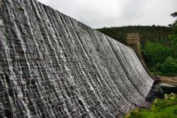 Water overlowing Derwent Dam