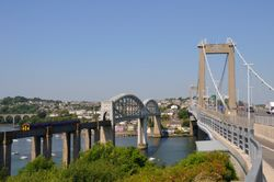 Royal Albert Rail Bridge and Tamar Bridge- Saltash - June 2009 Sunny Day