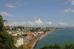 Dawlish Bay and town centre - looking down from a hill on June 2009