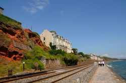 Dawlish promenade and red cliffs June 2009