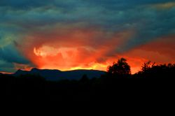 Sunset behind the Langdales.