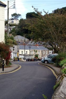 Main road into Pentewan village