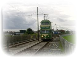 Vintage tram passing through Cleveleys
