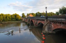 Old River Dee Bridge on River Dee leading to Lower Bridge St Chester - August 2009