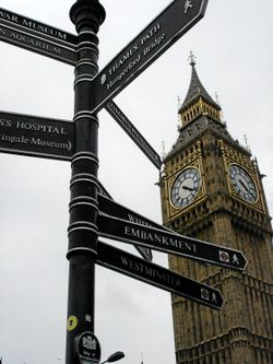 Big Ben with directional signs, October 2008