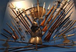 Armour and weapon display at York Castle Museum