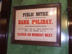 Bank holiday notice