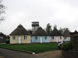 Holiday chalets and a lookout tower