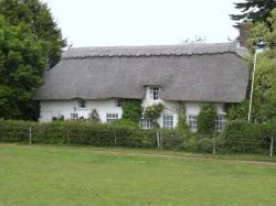 Thatched cottages near Beaulieu House