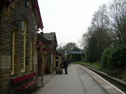 The platform at Haworth Railway Station