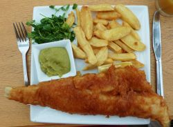 Cod, Chips and Mushy Peas for Cathyml's tour