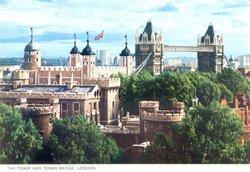 Tower of London and London Bridge, Postcard 1984 Wallpaper
