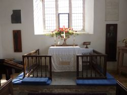 Church Altar, first Church I have seen with no font