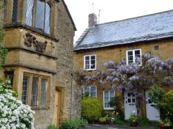 Ham stone cottage with wisteria