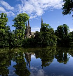 Lichfield Cathedral from Minster Pool