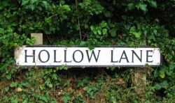 Hollow Lane, road sign