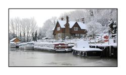 Allington Lock in the snow