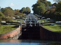 Caen Hill Locks on the Kennet and Avon canal at Devizes