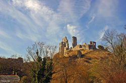Corfe Castle in the winter sun