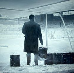 Match postponed.(Melt the snow with braziers) St Andrews, Birmingham City football ground, Birmingham