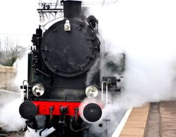 Steam Engine arriving at the station