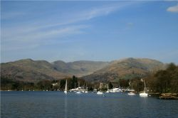 Waterhead and the Fairfield Horseshoe, seen from Windermere.