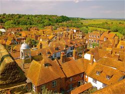 View of Rye from the Church Tower. Wallpaper