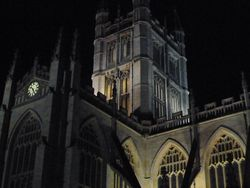 Bath Abbey illuminated at night