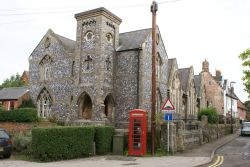 Church and Red Telephone Box