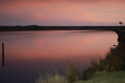 Sunset over Big pond on Dartmoor.