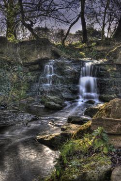 Small waterfall in Pittville Park, Cheltenham