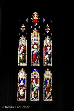 Stained glass window in Winchester Cathedral