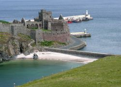 Peel Castle and beach.