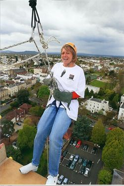 Flying off Eagle Tower, Cheltenham