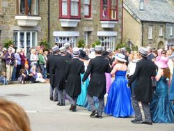 Dancers line up for the Flora Day dance at Helston