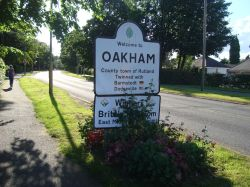 Entering Oakham in the B640