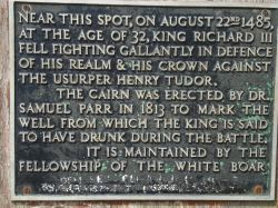 Commemorative plaque on the King Richard's Well