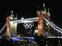 Tower Bridge complete with Olympic rings