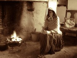 Keeping warm in a Manx cottage, Cregneash