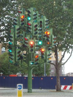 'Traffic Light Tree' in Westferry Road