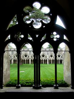 The cloister of Salisbury Cathedral, Wiltshire