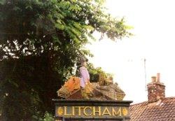 Litcham Village Sign - Very high up