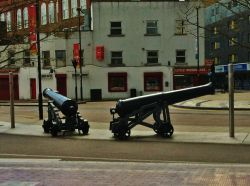 The Canons outside the Emirates Stadium, home of the Arsenal Football Club