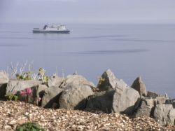 The ferry arriving in Douglas Isle of man,   hazy weather